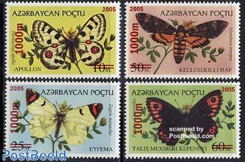 Butterflies 4v, overprints