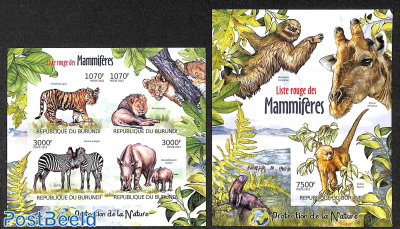 Red list of Mammals  2 s/s, imperforated