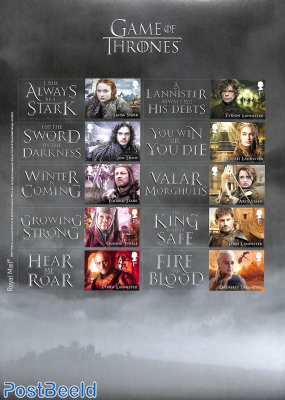 Game of Thrones, collectors sheet s-a