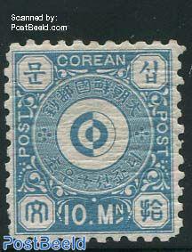 10M, Blue, perf. 8.5, unused