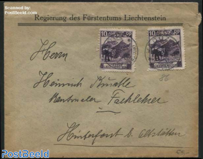 Letter with two 10Rp stamps (one damaged)