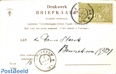 NVPH No. 85 on postcard from Amsterdam to Bennekom