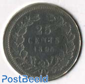 25 Cents 1895, mint mark straight