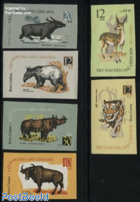 Wild animals 6v, imperforated