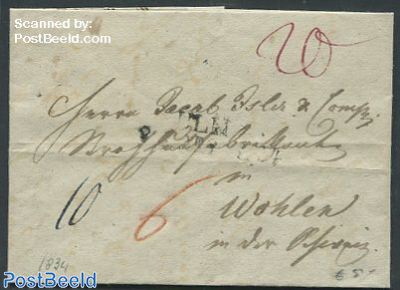 Folding letter from Switzerland to Wohlen, Germany